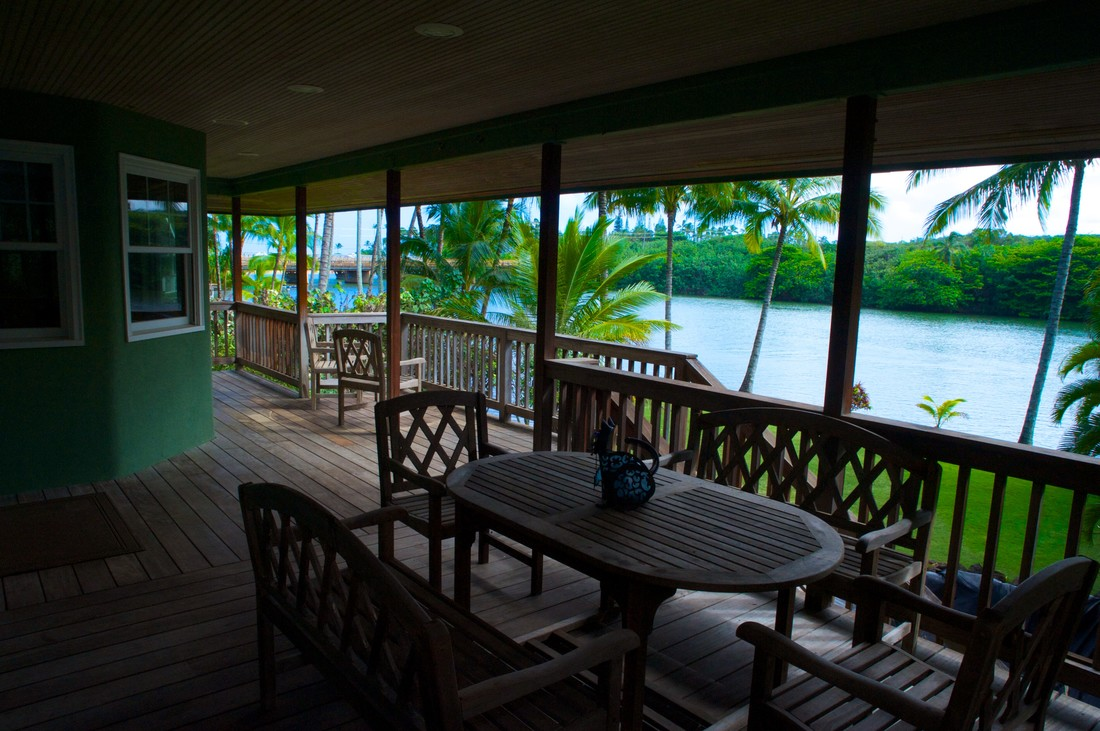 What a view - right from the deck of this Kauai Vacation Rental! Hawaiian Paradise on the Wailua River and very close to the Beach!